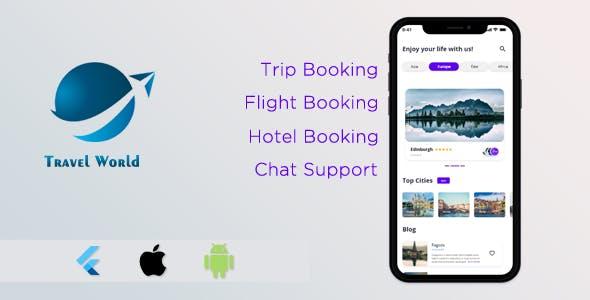 Flutter Travel World - UI/UX Template