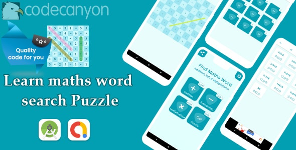 Maths word search Puzzle with admob ready to publish - CodeCanyon Item for Sale