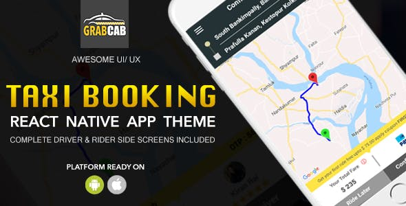 Grab Cab - React Native Taxi Booking App Template