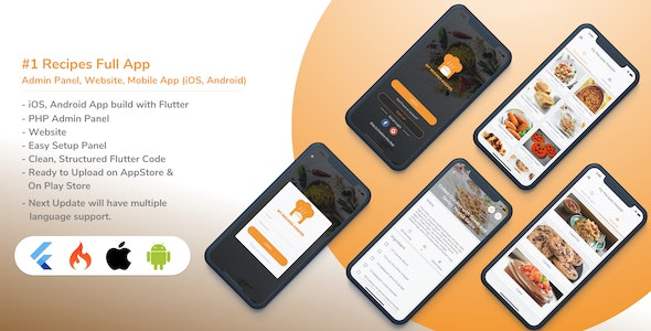 Food Recipe Android and iOS app (Flutter) with admin panel and Website - CodeCanyon Item for Sale
