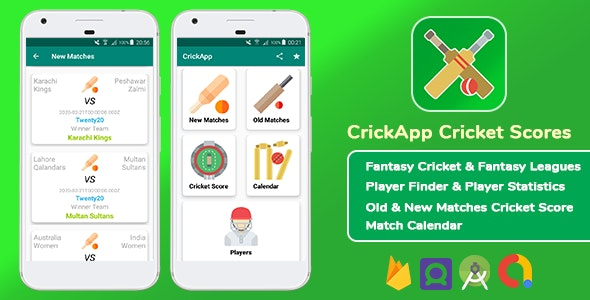 CrickApp Live Cricket Score - Fantasy Cricket & Leagues App - Player Statistics - Match Calendar - CodeCanyon Item for Sale