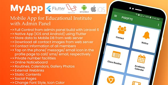 MyApp - Mobile App for Educational Institute with Admin Panel