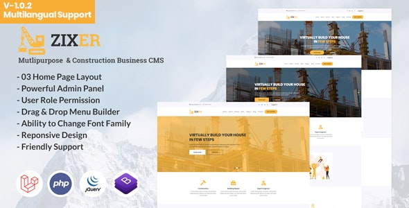 Zixer - Multipurpose Website & Construction Business Company CMS - CodeCanyon Item for Sale
