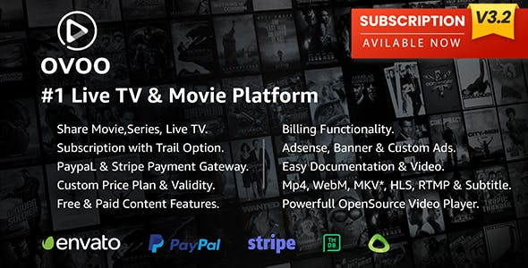 OVOO - Live TV & Movie Portal CMS with Membership System