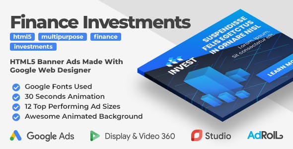 Finance Investments - Animated HTML5 Banner Ad Templates (GWD)