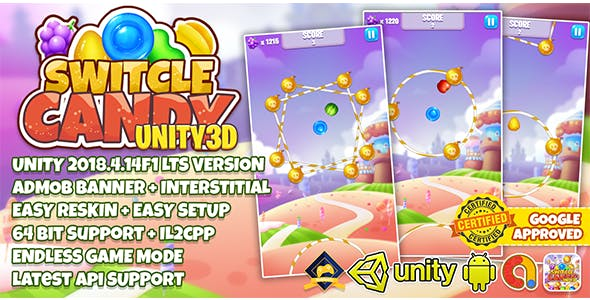 SWITCHLE CANDY UNITY3D + ADMOB + LATEST API SUPPORT + EASY RESKIN