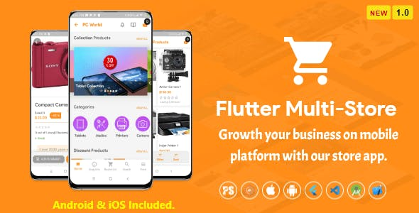 Flutter Multi-Store ( Ecommerce Mobile App for iOS & Android with same backend ) 1.0