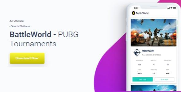 PUBG Tournament App Source Code with Admin Panel - BattleWorld