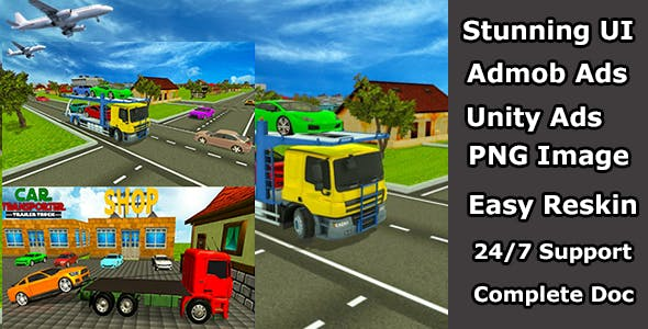 Dangerous cargo Express truck- Car transporter unity game