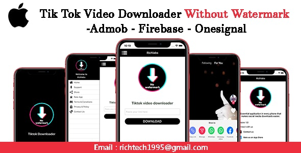 Tik Tok Video Downloader Without Watermark Admob Onesignal Ios By Richlabs