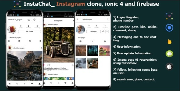InstaChat_InstagramClone in Ionic 4 and firebase - CodeCanyon Item for Sale