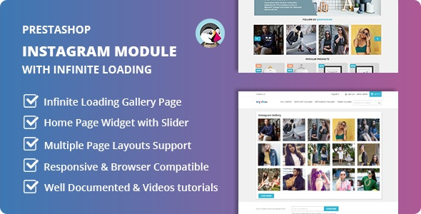 Instagram Home Widget and Page Gallery with Infinite Loading Module for Prestashop - CodeCanyon Item for Sale