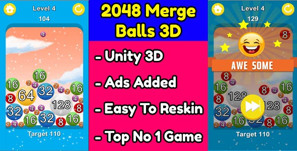 2048 Merge Balls 3D Game Unity Source Code (Template) With Ads Integrated