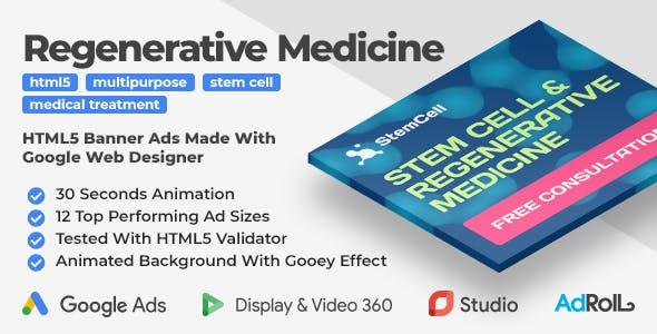 Stem Cell & Regenerative Medicine Animated HTML5 Banner Ad Templates (GWD, anime.js)
