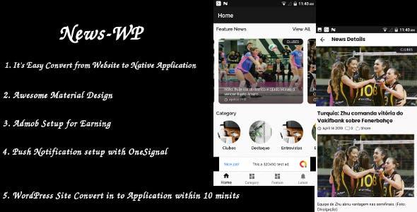 News/Blog - android App - Wordpress Site to Native App ( Admob + OneSignal + firebase )