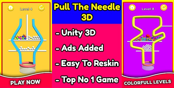 Pull The Needle 3D Game Unity Source Code (Template) With Ads Integrated