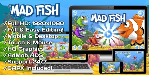 Mad Fish - HTML5 Game, Mobile Version + AdMob!!! (Construct 3 | Construct 2 | Capx)