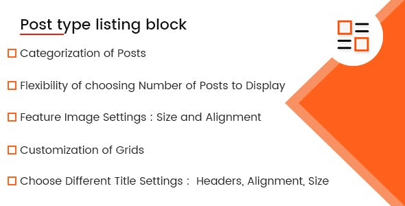 Post Type Listing Block For Gutenberg