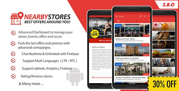 NearbyStores Android - Offers, Events & Chat Realtime + Firebase 1.8