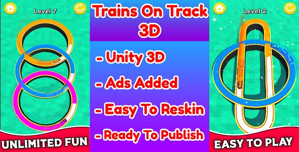Trains On Track 3D Game Unity Source Code (Template) With Ads Integrated