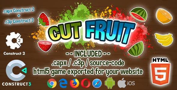 Cut Fruit HTML5 Game - Construct 2 & 3 (.capx + .c3p + source-code)