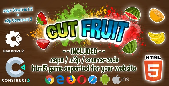 Cut Fruit HTML5 Game - Construct 2 & 3 (.capx + .c3p + source-code) - CodeCanyon Item for Sale