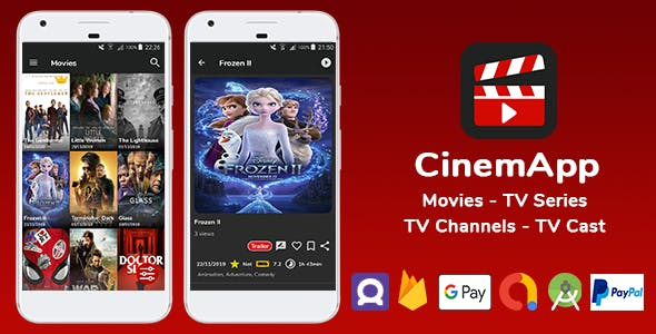CinemApp - Movies - TV Series - Live TV Channels - TV Cast - Paypal & G Pay - TMDB & OMDB Api