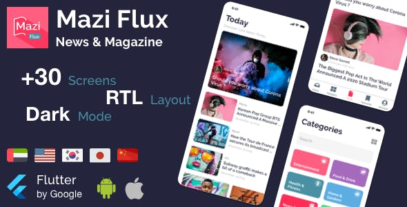 Mazi Flux - News & Magazine for Flutter mobile template