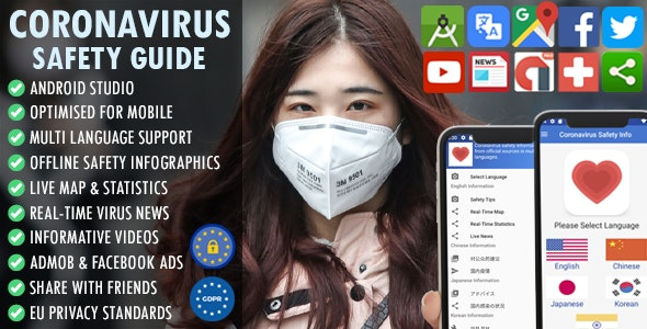 CoronaVirus (COVID-19) Safety Guide -  Multi Language + Real-time Map & Stats + Live News + AdMob - CodeCanyon Item for Sale
