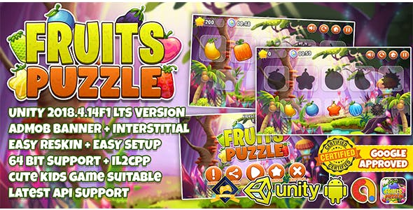 FRUITS PUZZLE FOR KIDS UNITY3D + ADMOB + EASY RESKIN + 64 BIT SUPPORT