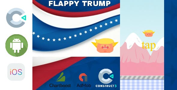 Flappy Trump Construct 2 - Construct 3 CAPX Game