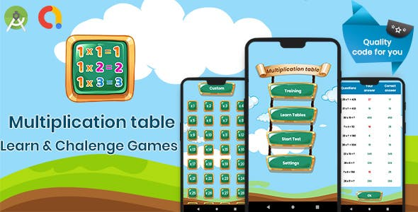 Multiplication table. learning and challenging games