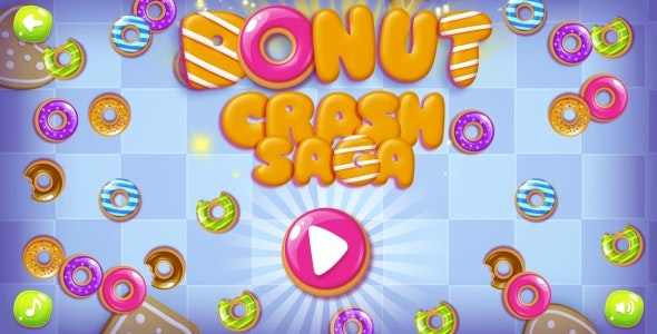 Donut Crash Saga - HTML5 Game + Android + AdMob (Construct 3 | Construct 2 | Capx) - CodeCanyon Item for Sale