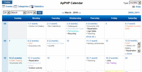 PHP Events Calendar Control - CodeCanyon Item for Sale