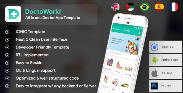 All in one Doctor App Solution Template (HMTL + Css) IONIC 5 | DoctoWorld