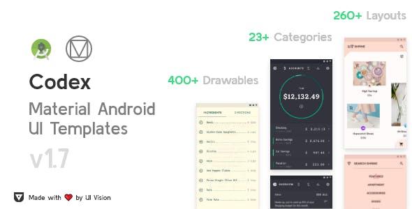 CodeX - Android Material UI Templates