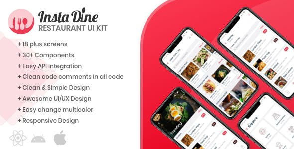 InstaDine - Restaurants Directory React Native UI Kit Template