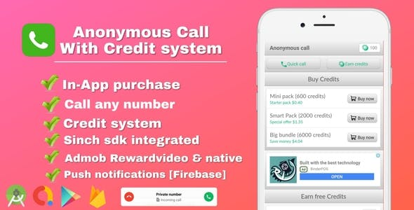 Anonymous Call - Android Free Calling App With in-app purchase & Credit system