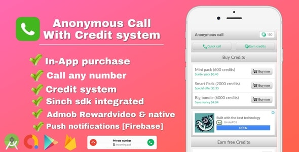 Anonymous Call - Android Free Calling App With in-app purchase & Credit system - CodeCanyon Item for Sale
