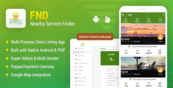FnD - On-Demand Nearby Shops & Stores Directory WebApp + Android + iOS - CodeCanyon Item for Sale