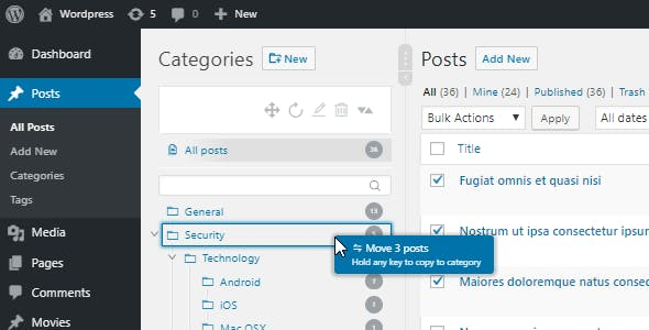 WordPress Real Category Management - Custom category term order / Tree view