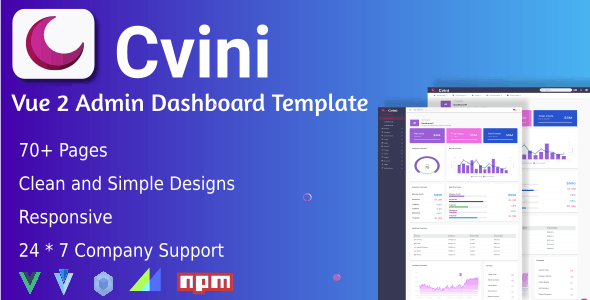 Cvini Admin Vue 2 Responsive Template - CodeCanyon Item for Sale