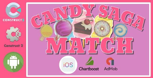 Candy Saga Match Construct 2 - Construct 3 CAPX Game
