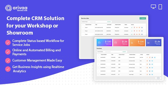 Arivaa Service Job (CarWash, Workshop and Showroom CRM) - CodeCanyon Item for Sale