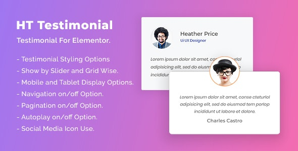 HT Testimonial For Elementor - CodeCanyon Item for Sale