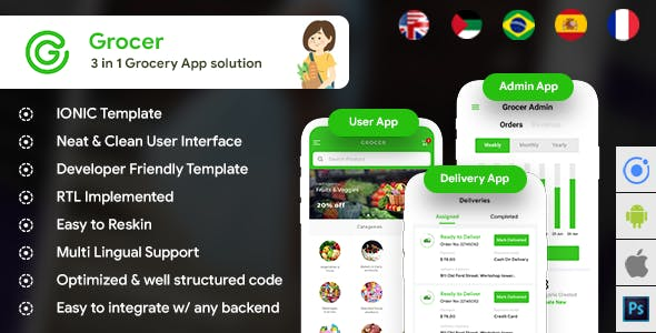 Grocery Android App + Grocery iOS App Template| 3 Apps (HTML + CSS) IONIC 5 | Grocer