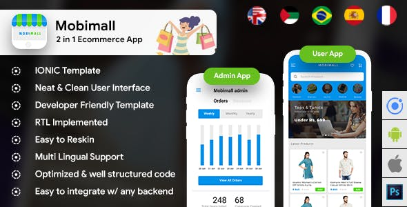Ecommerce Android App Template + Ecommerce iOS App Template (HTML+CSS files IONIC 3) | Mobimall