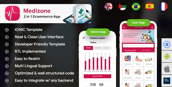 Pharmacy eCommerce Android App + Online medicine iOS App Template| 2 Apps| HTML + CSS IONIC 3 - CodeCanyon Item for Sale