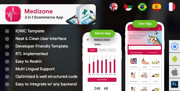 Pharmacy eCommerce Android App + Online medicine iOS App Template| 2 Apps| HTML + CSS IONIC 3