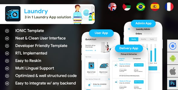 Laundry Android App + Laundry iOS App Template |3 Apps|  (HTML+CSS files IONIC 3) Quickwash